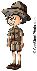 Old man in safari clothes with serious face
