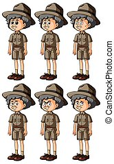 Old man in safari outfit with different emotions