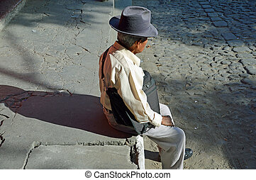 Old man in thought (1) - ANTIGUA, GUATEMALA - JUNE 26, 2015;...