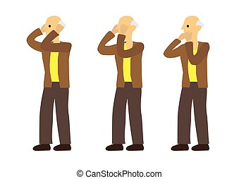 Old man in three expression of see no evil, speak no evil and hear no evil