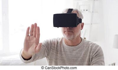 old man in virtual reality headset or 3d glasses 1 - 3d...