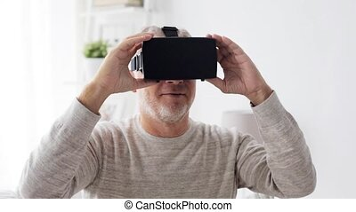 old man in virtual reality headset or 3d glasses 3 - 3d...