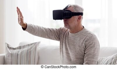 old man in virtual reality headset or 3d glasses 78 - 3d...