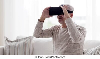 old man in virtual reality headset or 3d glasses 79 - 3d...