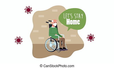 old man in wheelchair stay at home for covid19 prevention method ,4k video animation