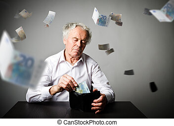 Old man in white and wallet with twenty Euro. Accounting and taxes.