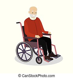 Old man is sitting in a wheelchair,smiling grandfather