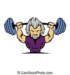Old man lifting weights cartoon
