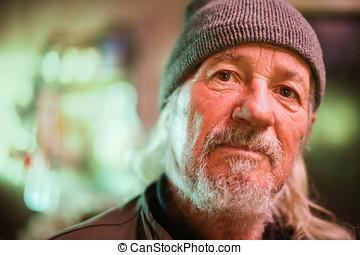 Old man looking at camera