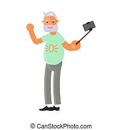 Old man make selfies