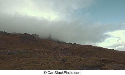 Old Man of Storr in mist - time-lapse, Isle of Skye,...
