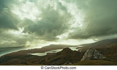 Old Man of Storr - time-lapse, Isle of Skye, Scotland- wide...