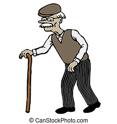 Old Man - Old man with walking stick