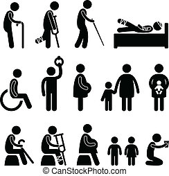 A set of pictogram showing the people in needs of priority.