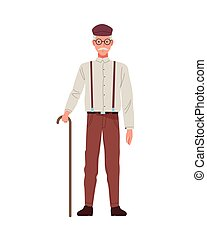 old man perfectly imperfect character icon vector illustration design