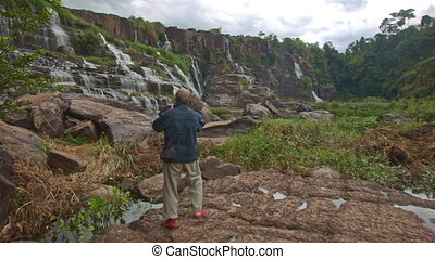 Old Man Photos Wide View of Waterfall Cascade Panagarh