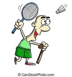 old man playing badminton - illustration of old man fery ...