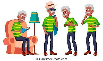 Old Man Poses Set Vector. Black. Afro American. Elderly ...