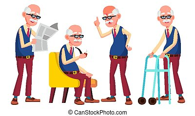 Old Man Poses Set Vector. Elderly People. Senior Person. ...