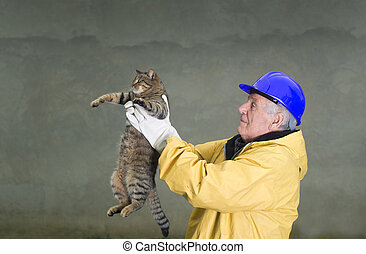 Old man rescuing cat