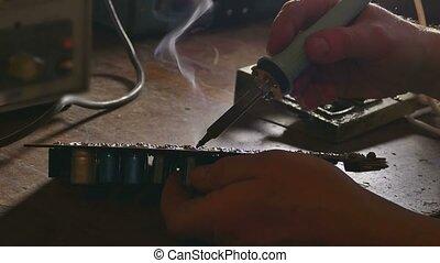 old man retro technician radio solder soldering retro iron -...