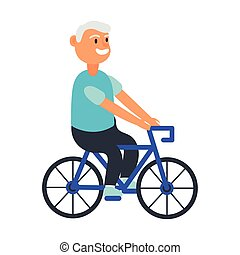 old man riding bicycle avatar character