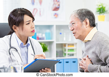 Old man see the female doctor