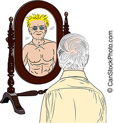 Old Man Sees Himself as Young - A vector illustration of an...