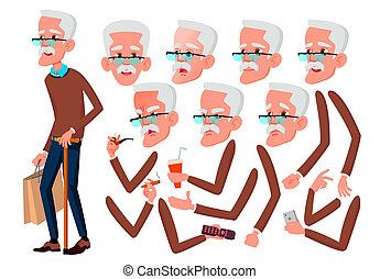 Old Man . Senior Person. Aged, Elderly People. Active, Expression. Face Emotions, Various Gestures. Animation Creation Set. Isolated Flat Cartoon Character Illustration