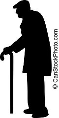 Old man senior silhouette