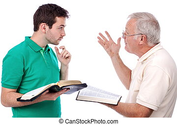 Old man sharing Gospel - Old man sharing God's Words with a...