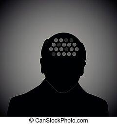 old man silhouette human head alzheimer disease dementia