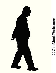 Old man silhouette on white background