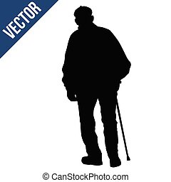 Old man silhouette with stick