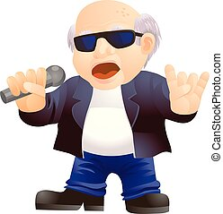 Old man singing like a rock star vector