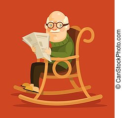 Old man sitting in rocking chair. Vector flat illustration