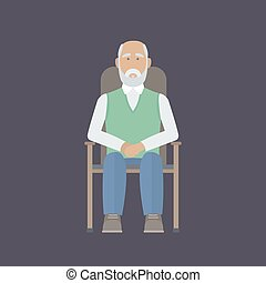 Old man sitting on a chair
