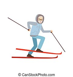 Old Man Skiing Winter Sports Illustration