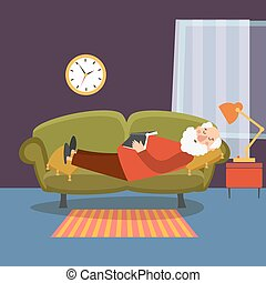 Old man sleeping on sofa with book. Elderly  relaxing home or grandfather resting vector illustration