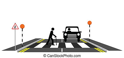 Old man slowly walking across a zebra crossing