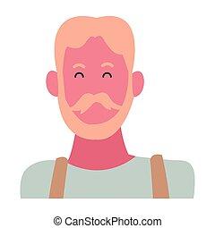 Old man smiling cartoon