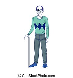 old man standing with cane, colorful design