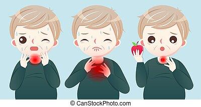 Cartoon middle aged man suffer a sore throat - symptom of Esophageal cancer