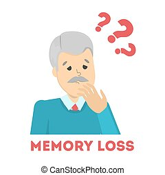 Old man suffering from the memory loss. Confused