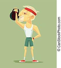 Old man trains. Vector flat illustration