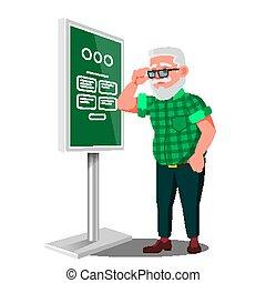 Old Man Using ATM, Digital Terminal Vector. Interactive...