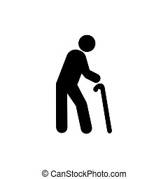 old man vector on white background