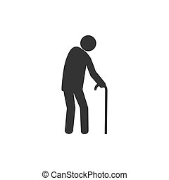 Old man, walker icon. Vector illustration, flat design. -...