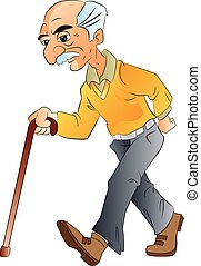 Old Man Walking, illlustration - Old Man Walking with a...