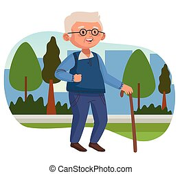 old man walking with cane in the park active senior character